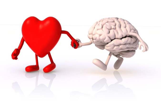 heart and brain that walk hand in hand, concept of health of walking